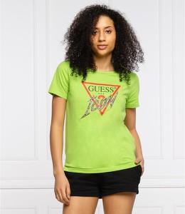 Zielona bluzka Guess w młodzieżowym stylu z krótkim rękawem