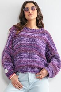 Fioletowy sweter Fobya w stylu boho