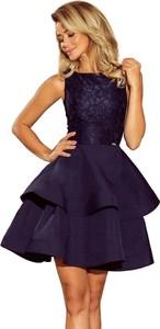 Granatowa sukienka Moda Dla Ciebie mini bez rękawów