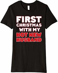 Bluzka First Christmas With My Hot New Shirts z okrągłym dekoltem w młodzieżowym stylu
