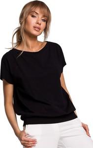 Czarna bluzka MOE z okrągłym dekoltem z krótkim rękawem z dzianiny