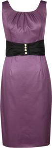 Fioletowa sukienka Fokus w stylu casual ołówkowa bez rękawów