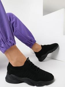 Czarne buty sportowe born2be sznurowane z zamszu