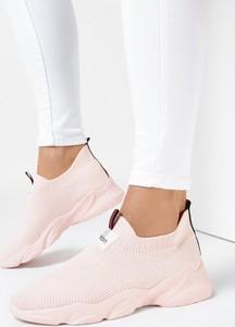 Różowe buty sportowe born2be sznurowane z zamszu