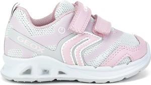 Różowe buty sportowe dziecięce Geox na rzepy