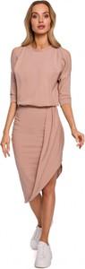 Różowa sukienka MOE z długim rękawem w stylu casual midi