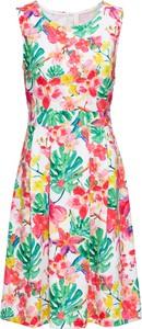 Sukienka bonprix BODYFLIRT boutique rozkloszowana bez rękawów z okrągłym dekoltem