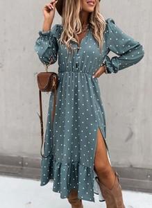 Sukienka Sandbella w stylu boho z dekoltem w kształcie litery v