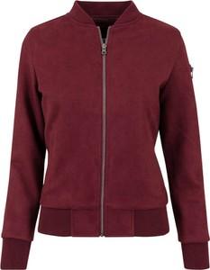 Czerwona kurtka Urban Classics krótka w stylu casual z zamszu