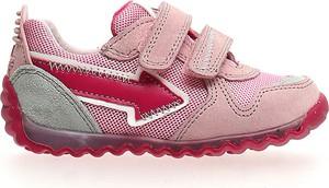Różowe buty sportowe dziecięce Naturino ze skóry na rzepy