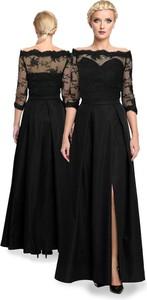 Czarna sukienka Camill Fashion maxi hiszpanka z długim rękawem