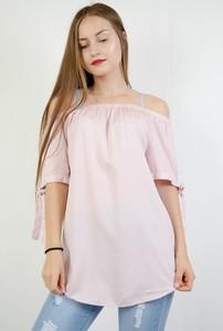 Różowa bluzka Olika hiszpanka z krótkim rękawem