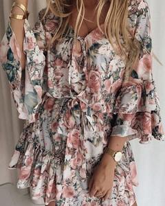 Sukienka Kendallme mini w stylu boho z długim rękawem