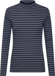 Niebieska bluzka Tom Tailor Denim w stylu casual z dzianiny z golfem