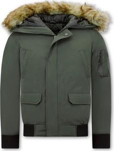 Zielona kurtka ENOS krótka w stylu casual