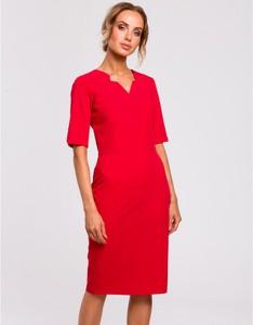Czerwona sukienka MOE z dekoltem w kształcie litery v ołówkowa