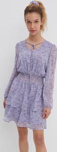 Fioletowa sukienka House z długim rękawem mini