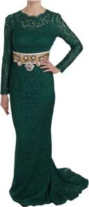 Zielona sukienka Dolce & Gabbana maxi z długim rękawem z jedwabiu
