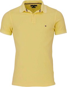 Żółta koszulka polo Tommy Hilfiger z bawełny w stylu casual