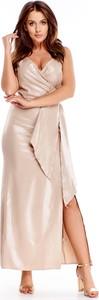 Różowa sukienka Ptakmoda.com kopertowa z dekoltem w kształcie litery v