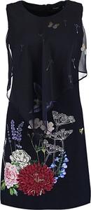 Granatowa sukienka Desigual bez rękawów z okrągłym dekoltem