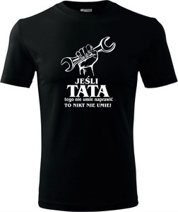Czarny t-shirt TopKoszulki.pl z bawełny w młodzieżowym stylu