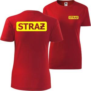 Czerwony t-shirt TopKoszulki.pl w sportowym stylu z bawełny z okrągłym dekoltem
