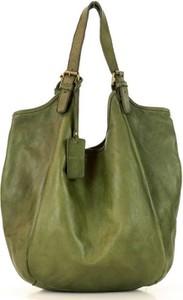 Zielona torebka Marco Mazzini Handmade ze skóry w wakacyjnym stylu matowa