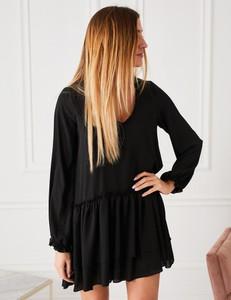 Czarna sukienka Misha w stylu casual mini z długim rękawem