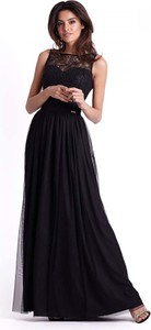 Czarna sukienka Ivon z okrągłym dekoltem bez rękawów maxi