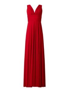 Czerwona sukienka Troyden Collection maxi bez rękawów z szyfonu