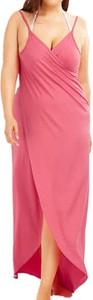 Różowa sukienka Arilook z dekoltem w kształcie litery v na ramiączkach midi