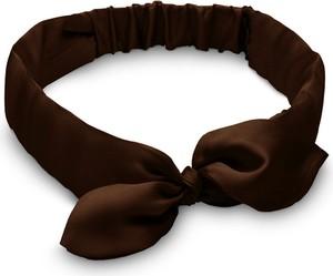 So Fluffy Jedwabna opaska z kokardką – czekoladowa