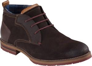 Brązowe buty zimowe Lavard sznurowane ze skóry