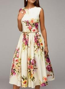 Sukienka Cikelly z okrągłym dekoltem midi bez rękawów