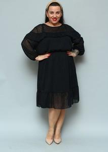Czarna sukienka KARKO midi dla puszystych z długim rękawem