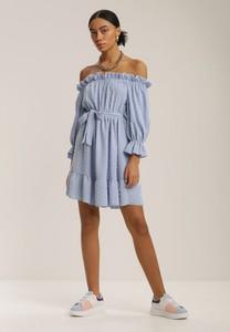 Niebieska sukienka Renee mini z długim rękawem hiszpanka