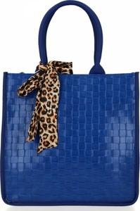 Niebieska torebka Herisson lakierowana ze skóry ekologicznej na ramię