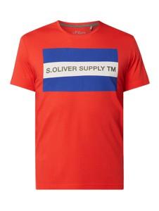 Czerwony t-shirt S.Oliver Red Label z nadrukiem z krótkim rękawem