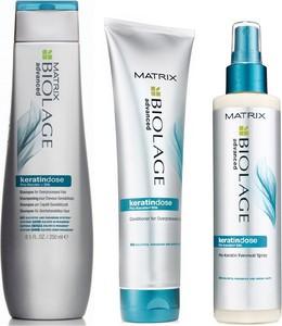 Matrix Biolage Keratindose: Zestaw do włosów uwrażliwionych: szampon 250ml + odżywka 200ml + spray rewitalizujący 200ml - Wysyłka w 24H!