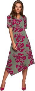 Zielona sukienka Style w stylu casual z dekoltem w kształcie litery v asymetryczna