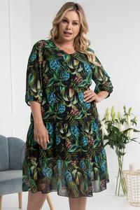 Sukienka KARKO dla puszystych z okrągłym dekoltem mini