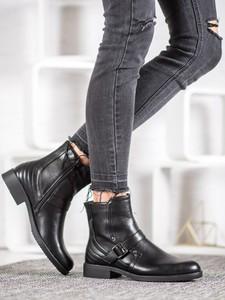 Czarne botki Czasnabuty z płaską podeszwą na zamek w stylu casual