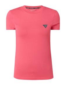 Różowa bluzka Guess z bawełny z krótkim rękawem