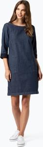 Granatowa sukienka comma, midi w stylu casual z długim rękawem