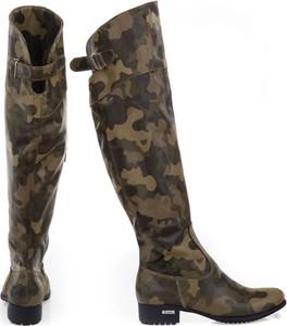 Zielone kozaki Zapato za kolano ze skóry