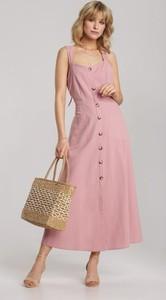 Różowa sukienka Renee rozkloszowana na ramiączkach