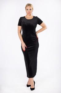 Czarna sukienka Ptak Moda ołówkowa z krótkim rękawem z weluru