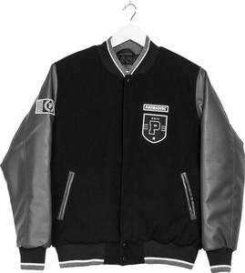 Czarna kurtka Patriotic w sportowym stylu z żakardu