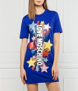 Sukienka Love Moschino z krótkim rękawem prosta z okrągłym dekoltem